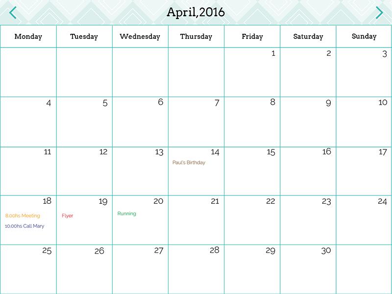 DailyUI 038 Calendar