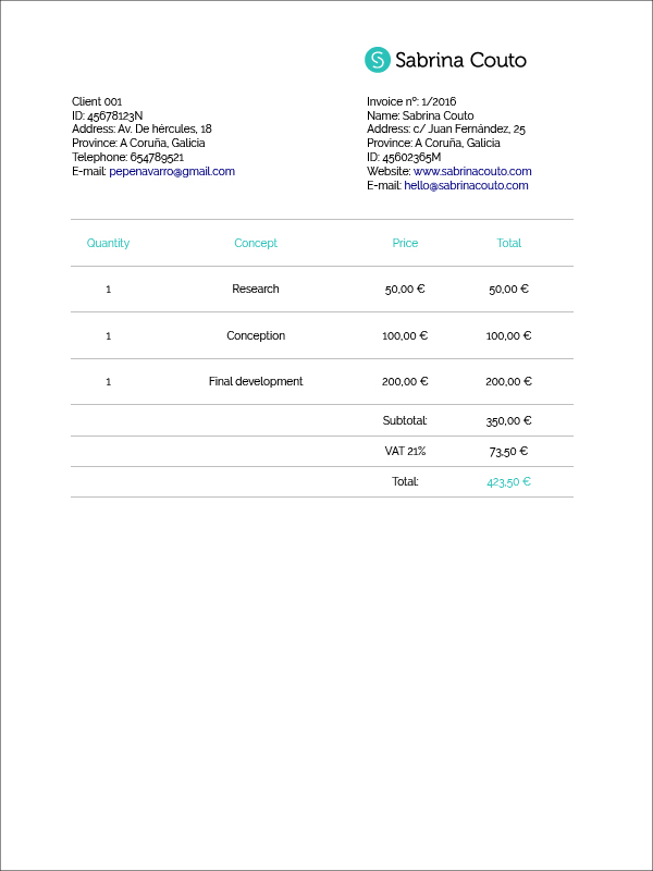 DailyUI 046 Invoice